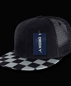 Checkered flat peak trucker (1085)