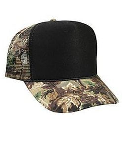 Five panel poly foam camo mesh back cap (49-1123)