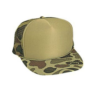 Five panel poly foam camo mesh back cap (49-158)