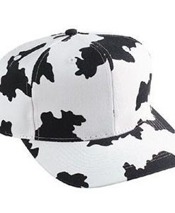 Six panel cow pattern cotton twill cap (56-57)